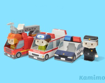 Police car, Ambulance, Fire truck Paper Toy / Printable Paper Craft PDF /  Tatten Plus - Emergency Vehicles