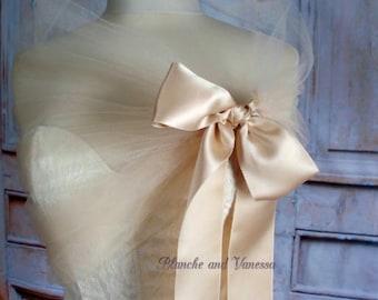 Champagne Tulle Shawl Tulle Shrug Tulle Bolero Champagne Evening Wrap Portrait Stole Wedding Shawl