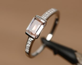 natural morganite ring sterling silver ring promise ring for her engagement ring gemstone morganite