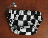 Baby Bloomers - Nappy or Diaper Cover. Handmade. 0-3 months. Black and white checks.