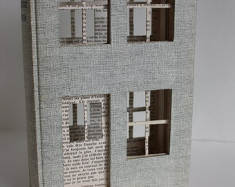 La Maison de l'Amour - The House of Love - Book Sculpture - Book Art - Book Paper Sculpture - Sculpture de Livre - Upcycled Book