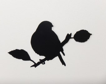 "Bird 5 Branch with Leaves Silhouette - Metal Wall Art - Single layer - Size 13"" wide x 8"" tall (DD5---)"