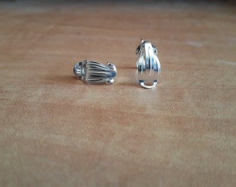 Sterling Silver clips Earrings Fitting w/ Loop Sold by pair