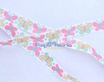 "Butterfly ribbon,glitter ribbon,  7/8"" ribbon, , grosgrain ribbon, 7/8"" ribbon, printed grosgrain"
