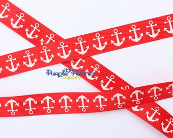 Anchor ribbon, red ribbon, 4th of July ribbon, patriotic ribbon, red white ribbon, red anchor ribbon, navy ribbon, sailor ribbon