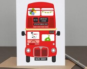 Personalised New Baby London Bus Card