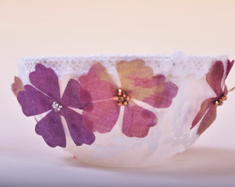 Beautiful Handmade bowl with organza silk flower design