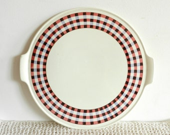 Grand plat à tarte ou à gâteaux rond en porcelaine Villeroy et Boch vintage France 1960