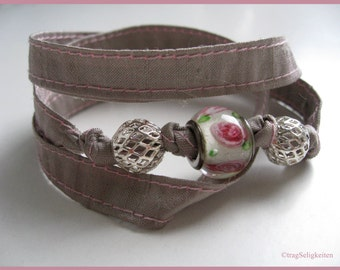 Grey silk wrap bracelet with lampwork bead