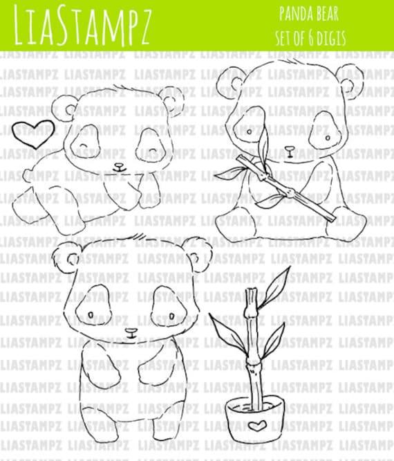 Digital stamp -panda digi set. digital stamp. bamboo stamp. cute panda stamp. LiaStampz