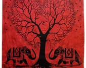 Tree Of Life Tapestry, Indian Tapestries, Full Size Sheets, Cotton Wall Hanging, Elephant Dorm Room Tapestries, Wall Décor Bedspread TP1738D
