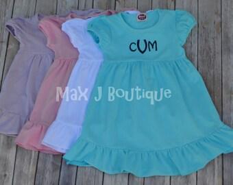 Monogrammed Ruffle Pink Short Sleeve Ruffle Dress -  Personalized summer dress - Beach Dress