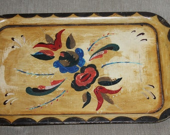 One Vintage Tray for Decoration or Use, with Painting on the Front