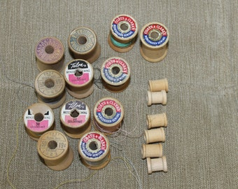 Wood Spools 18 Empty, Some w Thread, Large, Small Wooden Thread Spools, Sewing Notions, Crafting Supplies, Vintage Spools, Collectibles