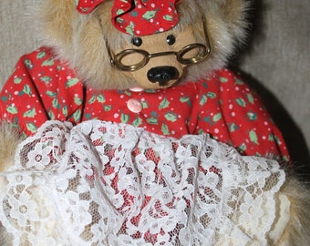 Detailed Vintage Limited Edition Kimbearly's Originals, w Eye Glasses, Clothing w Hat, Female Teddy Bear, Original Clothing, w Tags, Numbers