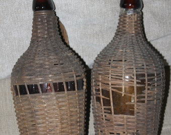 Vintage Bottles Hand Covered w A Wicker Type of Material, Cork Tops, Home Decoration, Collectible, Bottle Collector's, Amber Colored Bottles