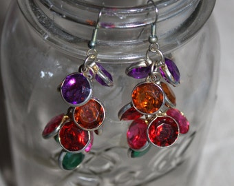 Vintage Hanging Earrings w Jewels Dangling From Them, Face Decoration, Fashionable, Wearable, Beautiful, Colorful, Red, Maroon, Green, etc