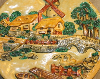HALF PRICE SALE This Decorative Plate is More Than That, It is a Piece of Art, It is a picture of House w Windmill Brick Walls, Trees, Swans