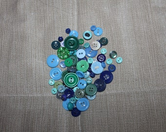75 Green And Blue Shades, Vintage Buttons, Different Types & Sizes, Great for Crafting or Sewing Projects, Collectibles, Very NICE Clothing