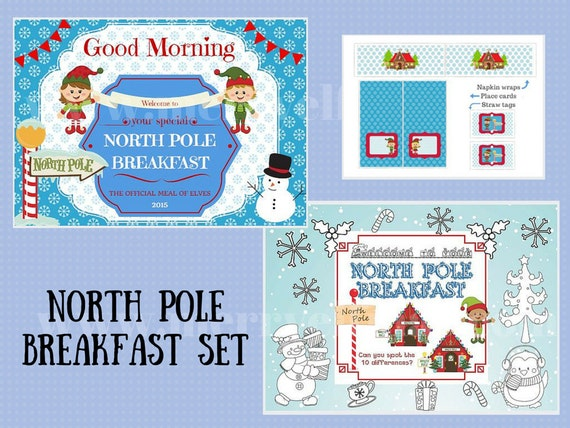 Printable North Pole Breakfast Set