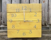 Pallet Wood Clock, Yellow Wood Clock, Rustic Wood Clock, Yellow and Grey Clock, Shabby Chic Clock, Mustard Yellow Decor, Primitive clock