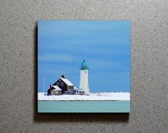 Scituate Lighthouse Ceramic Coaster Tile Wall Drink, Cape Cod MA Snow Covered Beach Winter Blue Water Ocean Sky Nautical