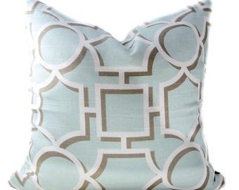 Light blue pillow cover - Off-White Trellis pillow - Robins Egg Blue pillow - Spa blue pillow - Pale blue pillow - Blue White pillow