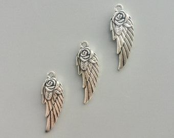 5/10/20 Pcs Angel Wings Pendants Metal Charms Antique Silver Tone Pendants Double Sided Wings Charms Alloy Beads 11*30mm 3102