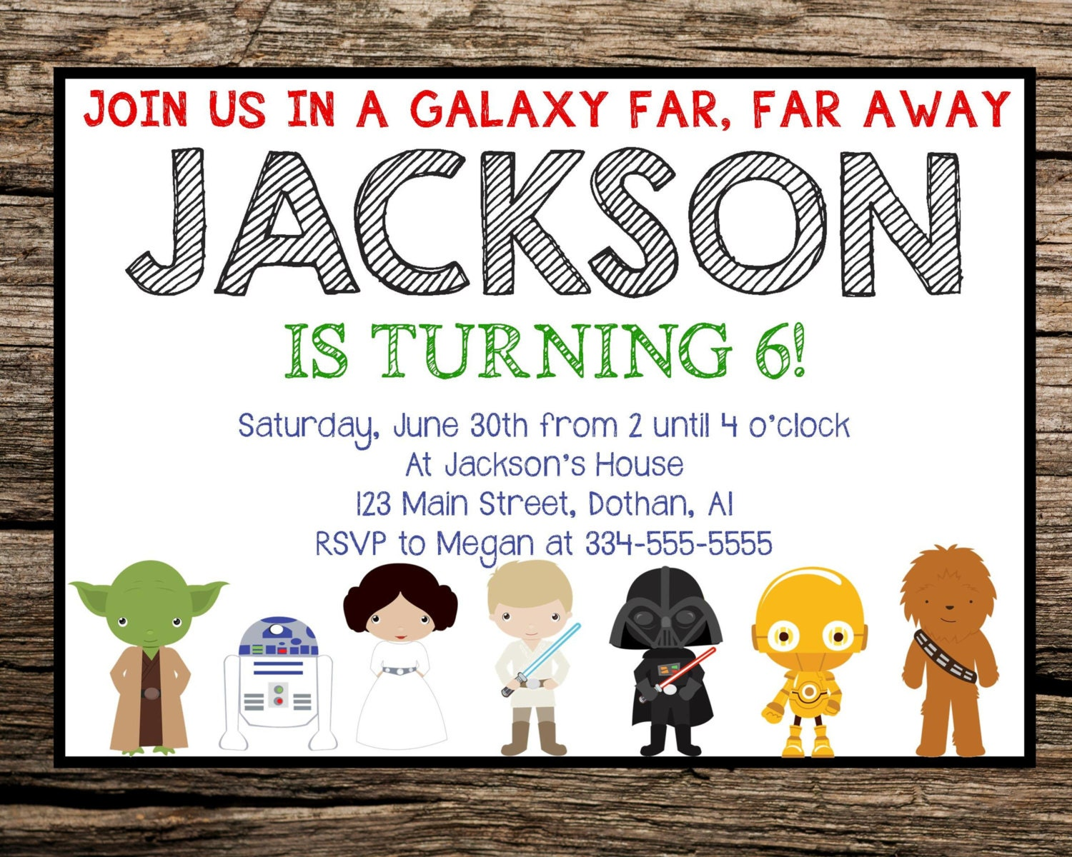 Magic image with free printable star wars birthday invitations