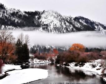 Winter photography. nature photography. landscape fine art print. mountain landscape. mountain fog. fog landscape print.