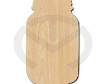 Unfinished Wood Mason Jar Laser Cutout, Wreath Accent, Door Hanger, Ready to Paint & Personalize, Various Sizes