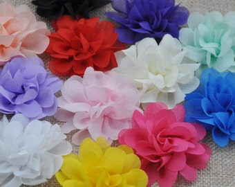 U Pick 12PCS Large Organza Ribbon Bows Flowers 60MM Appliques Wedding A254