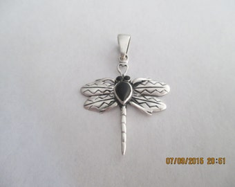 Dragon Fly Pendant..Sterling Silver..with Black Onyx...new