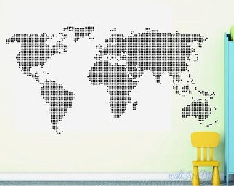 Giant world map wall decal Map wall stencils Abstract world map mural Dotted world map wall stencil White map wall sticker Modern wall decal