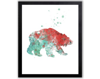 Grizzly Bear, Bear Painting, Contemporary Watercolor Animal Art - WA007