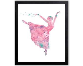 Girls Wall Art, Dancing Decor, Ballerina, Ballet Art Print - FIG001