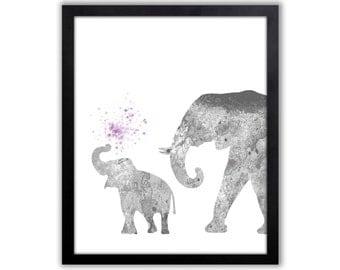 Purple And Gray Nursery, Elephant Nursery Art