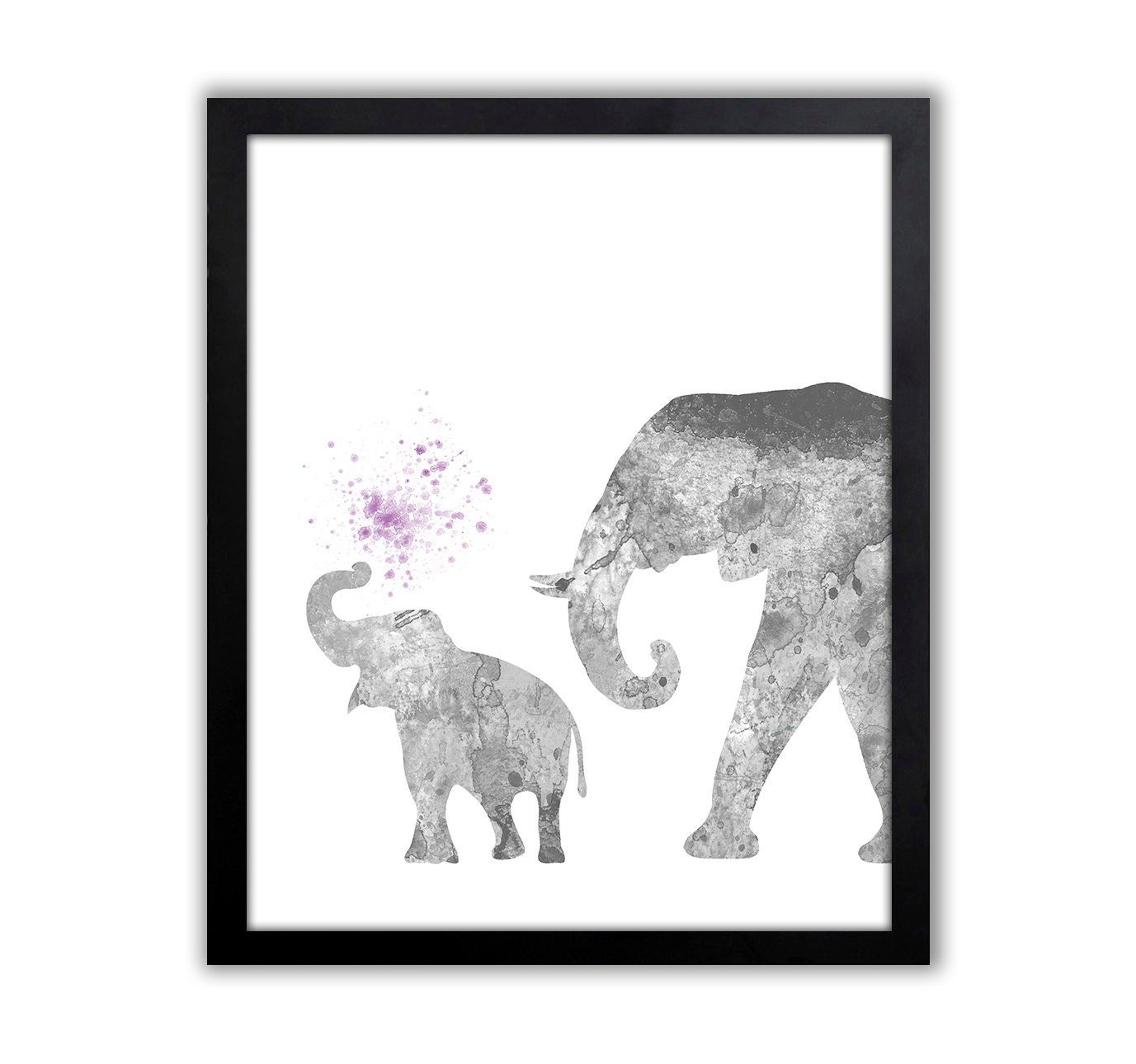 Elephant nursery wall art print mom baby dad by rizzleandrugee -  Zoom