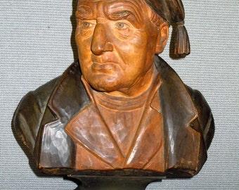 19th Century Victorian Ebenezer Scrooge Hand Carved Wooden Bust Sculpture Wood