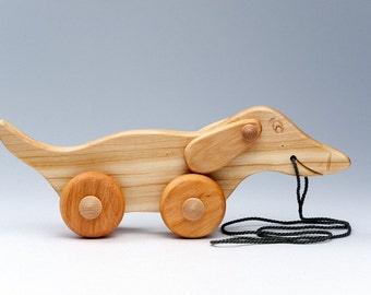 Wood Dog on Wheels - Push Toy Pet - Wooden Toy Wheeled - Gift For Doglovers - Wheeled Wood Dog - Wood Toy Dog - Personalized Wooden Pull Toy