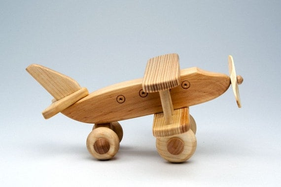 Toys For Active Boys : Items similar to wooden airplane organic baby toys