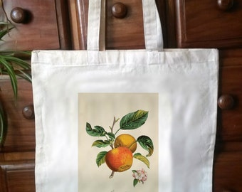Cotton Eco Friendly shopper tote bag,  Victorian botanical print