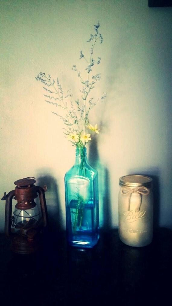 Recycled bombay sapphire liquor bottle vase by smokysecrets for Liquor bottle vases