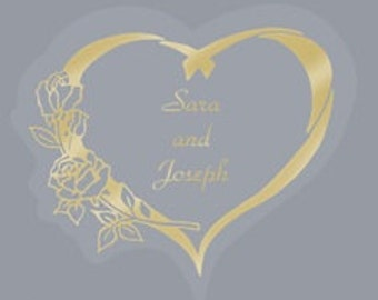 Personalized Silver or Gold Heart with Roses Wedding Invitation Envelope Seals Stickers (Pack of 100)