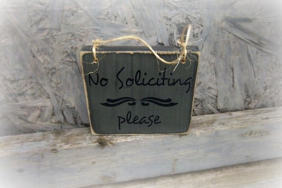 Small front door sign no soliciting sign by - Wooden door signs for home ...