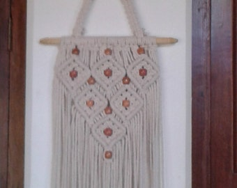 Free shipping  Natural Macrame wall hanger/ wall decor/ wall hanging / wall art  4mm cotton cord, white or cream colour rope art