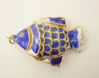 Blue Enameled Fish Pendant - It Moves! Oriental Koi. Item #1