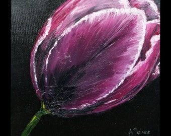 Small flower painting 8x8 Tulip painting Small painting Tulip art Flower art work Original oil painting on canvas Floral art by Alina Jelvez