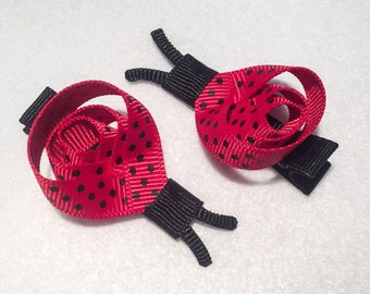 Ladybug - Set of 2 Sculptured Hair Clips Clippies - Red and Black Polka Dots - ADORABLE!