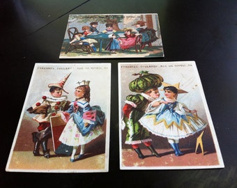 3 French Antique Trade Cards